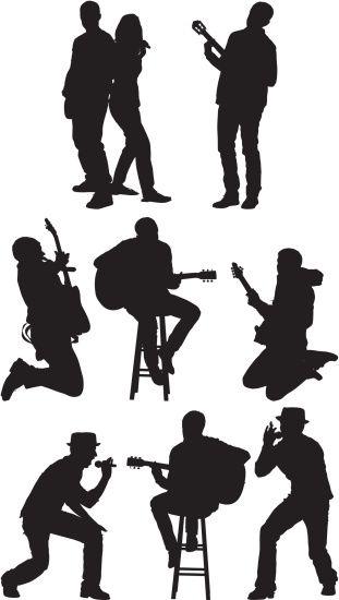 vectores libres de derechos silhouette of musicians art music