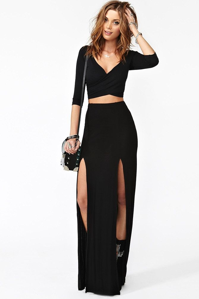Details about BLACK HIGH waisted side double 2 SLIT MAXI SKIRT ...