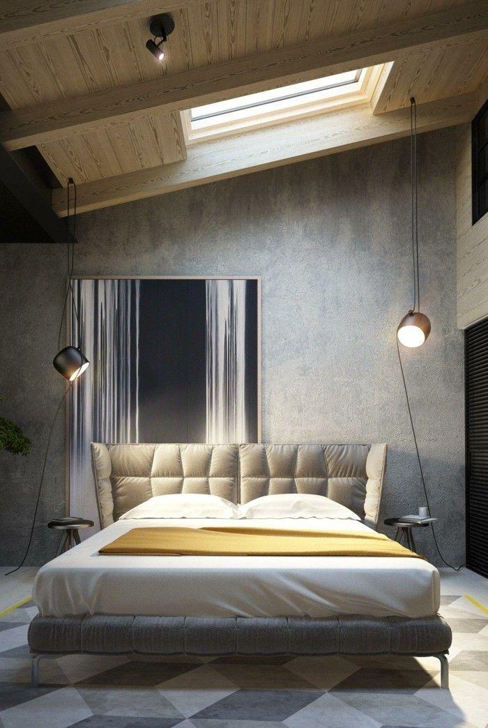 Ideen Für Wandgestaltung Schlafzimmer Betonwand Geometrischer Teppich  Dachschräge