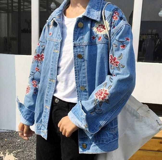f6456266be2 itGirl Shop ROSES CUTE EMBROIDERY DENIM JACKET Aesthetic Apparel