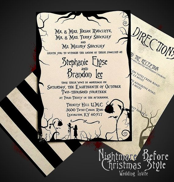 Nightmare Before Christmas Themed Wedding Invitation + RSVP Card ...