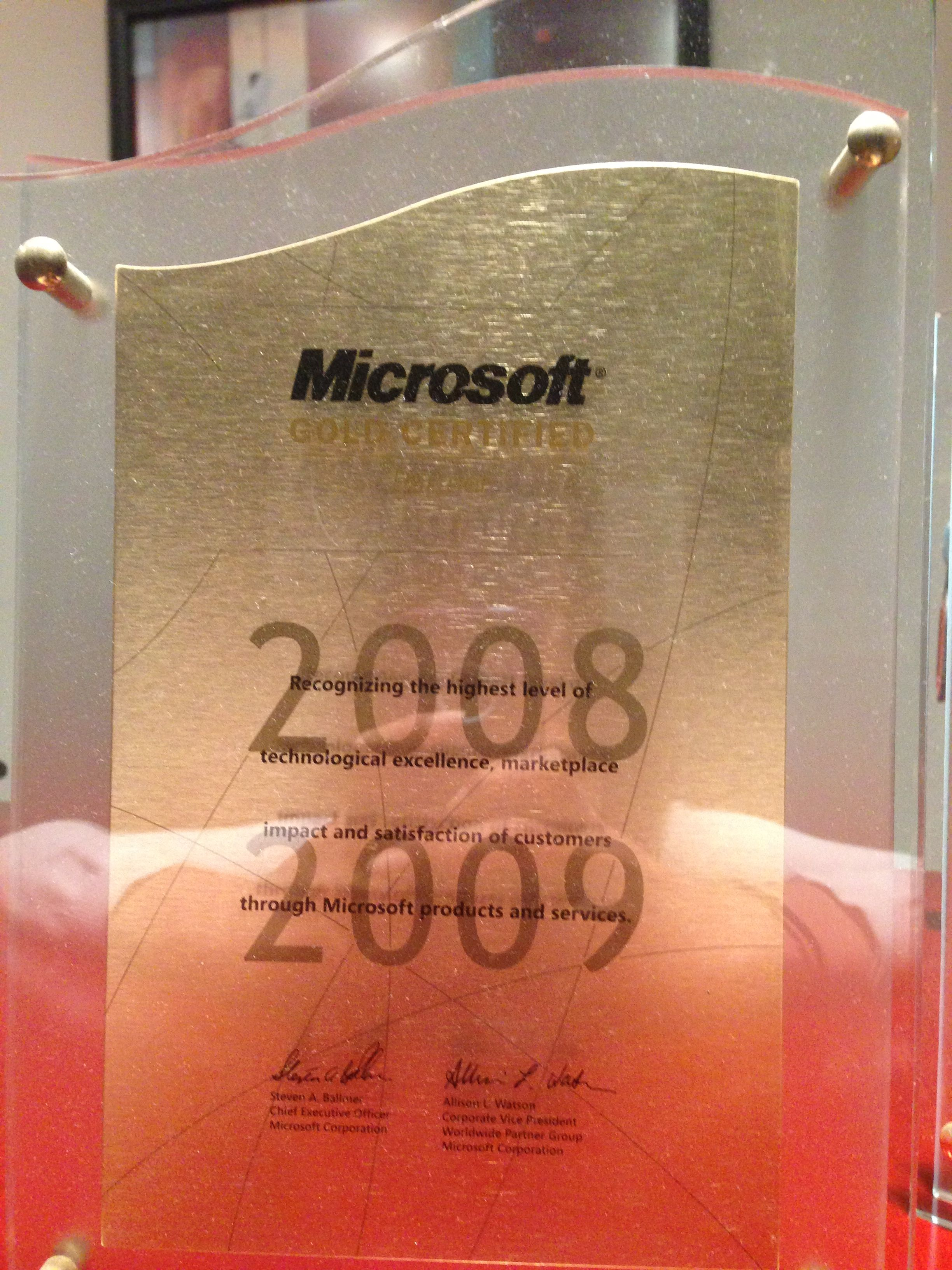 Microsoft Gold Certified Partner 20082009 In the years
