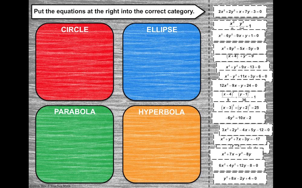 Classifying Conics Card Sort Digital Activity Algebra 2