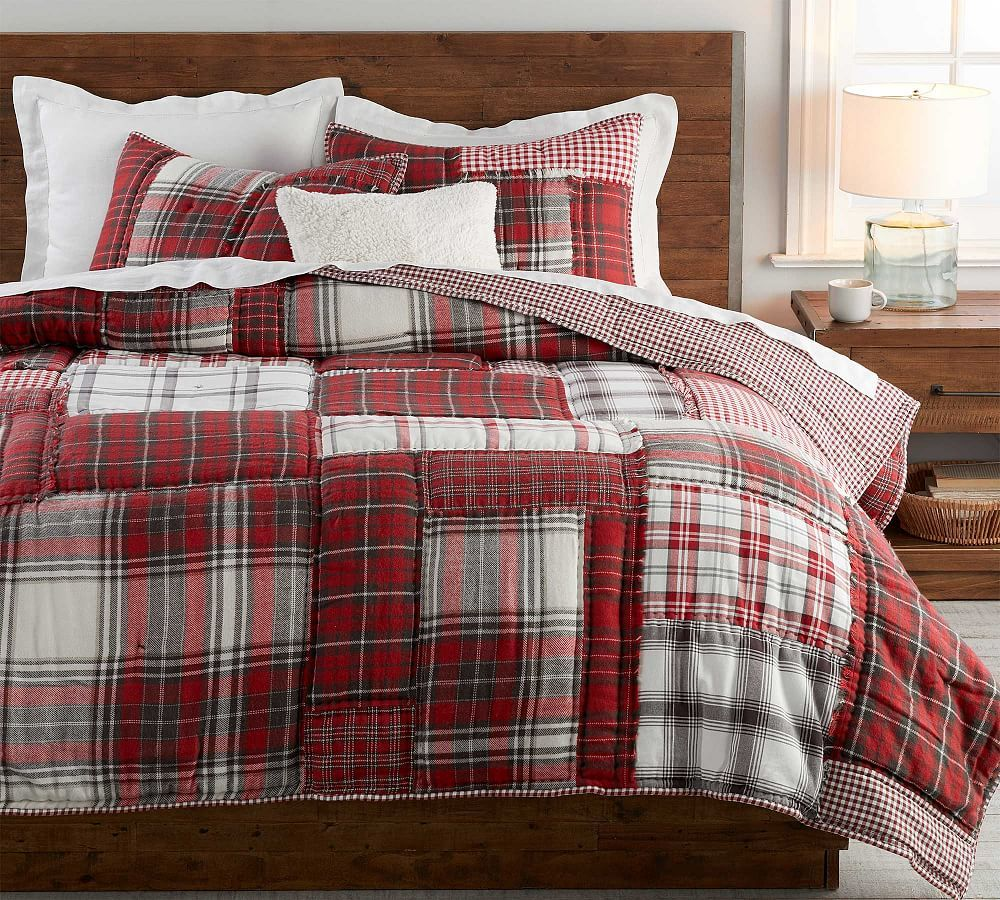 Easton Plaid Patchwork Cotton Quilt Amp Shams Christmas Bedding Quilted Sham Full Bedding Sets