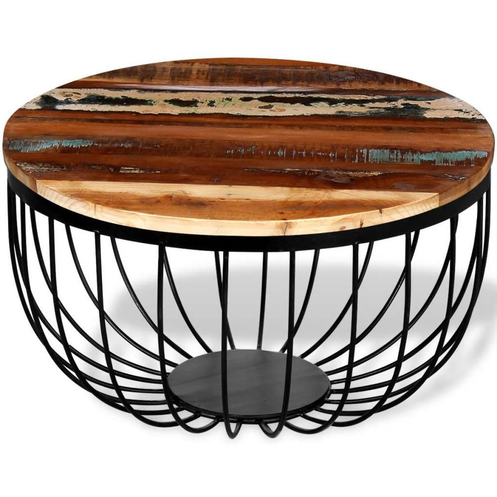 - Coffee Side Table Round Reclaimed Wood Iron Base Wooden Living