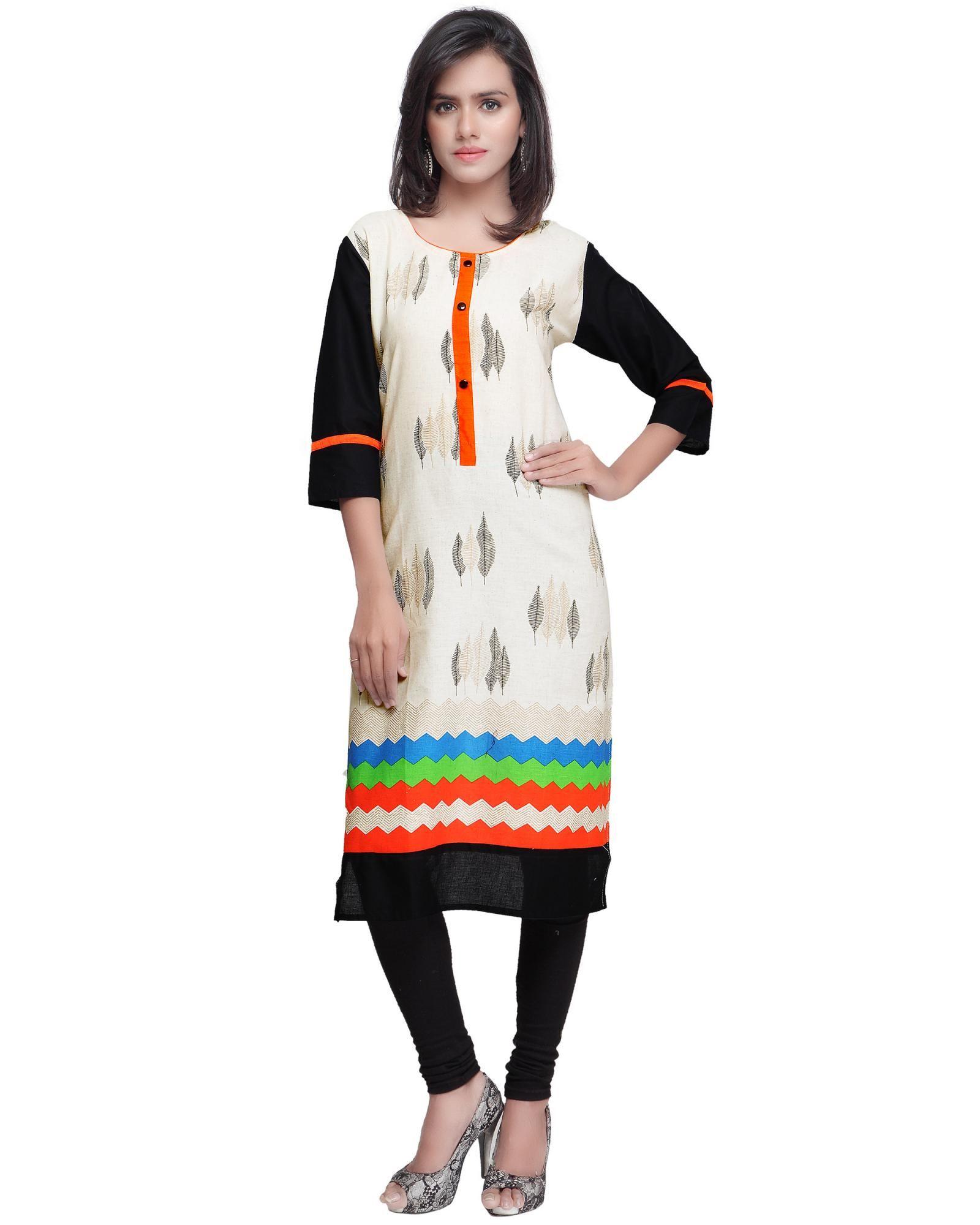 Buy Prafful Orange Cotton Printed kurti GTJAI-130-D at lowest price