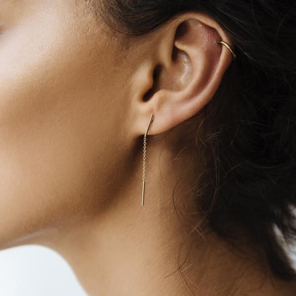 Stand With Her Earrings Feature Two Fine Bars With Drop Down Chain