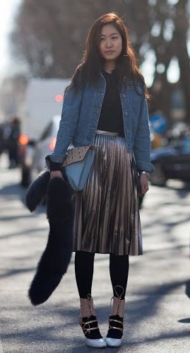 15f8528755 love the black leggings with the pewter pleated skirt and denim jacket.