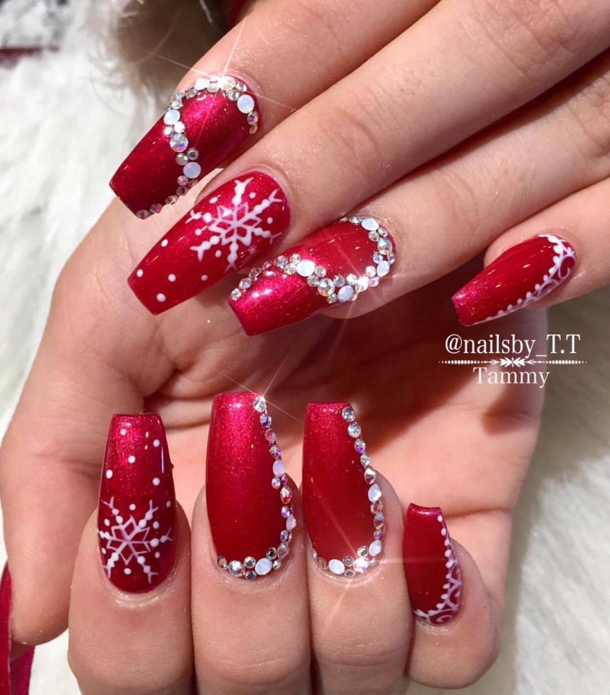Holiday Nail Designs | Acrylic Nails | Red and Diamond Nails #nails ...