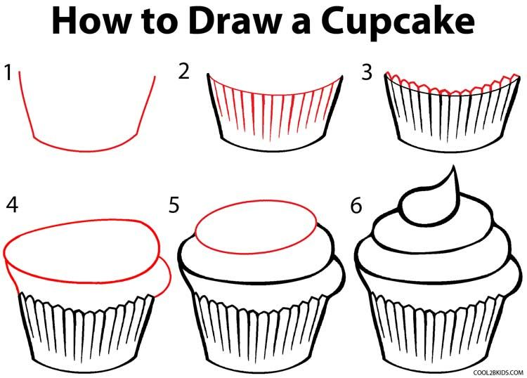 how to draw a cupcake step by step drawing tutorial with pictures rh pinterest co uk how to draw a cartoon birthday cupcake how to draw a cartoon cupcake with a face