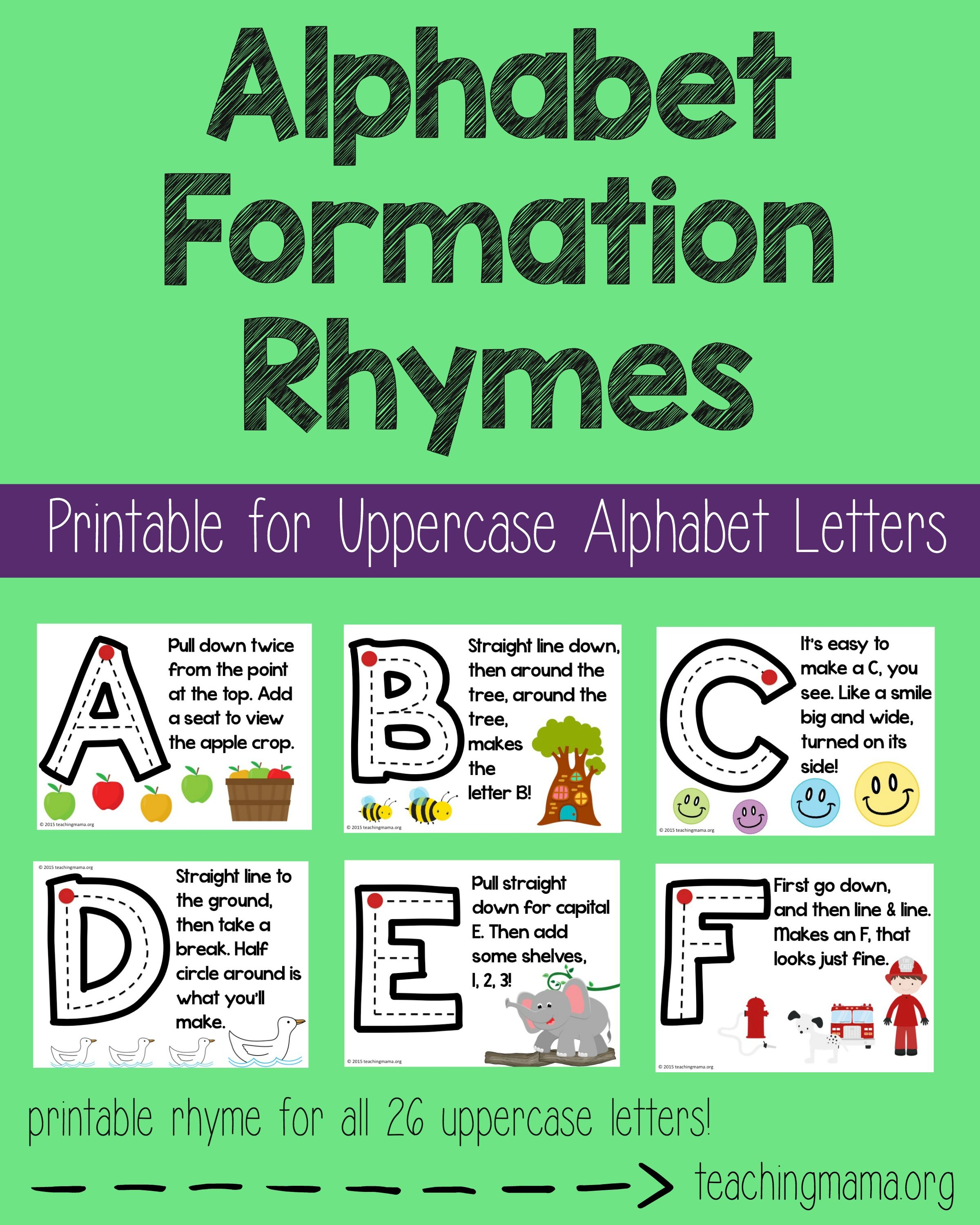 Number formation rhymes number formation numbers and school alphabet formation rhymes printable rhymes for all 26 uppercase letters a fun way to robcynllc Image collections