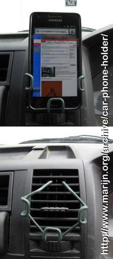 Make a DIY (smart) phone car holder for (almost) free. Aka wire coat-hanger phone holder.