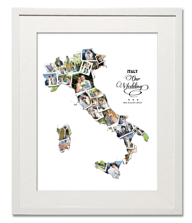 Italy honeymoon wedding anniversary photo collage by
