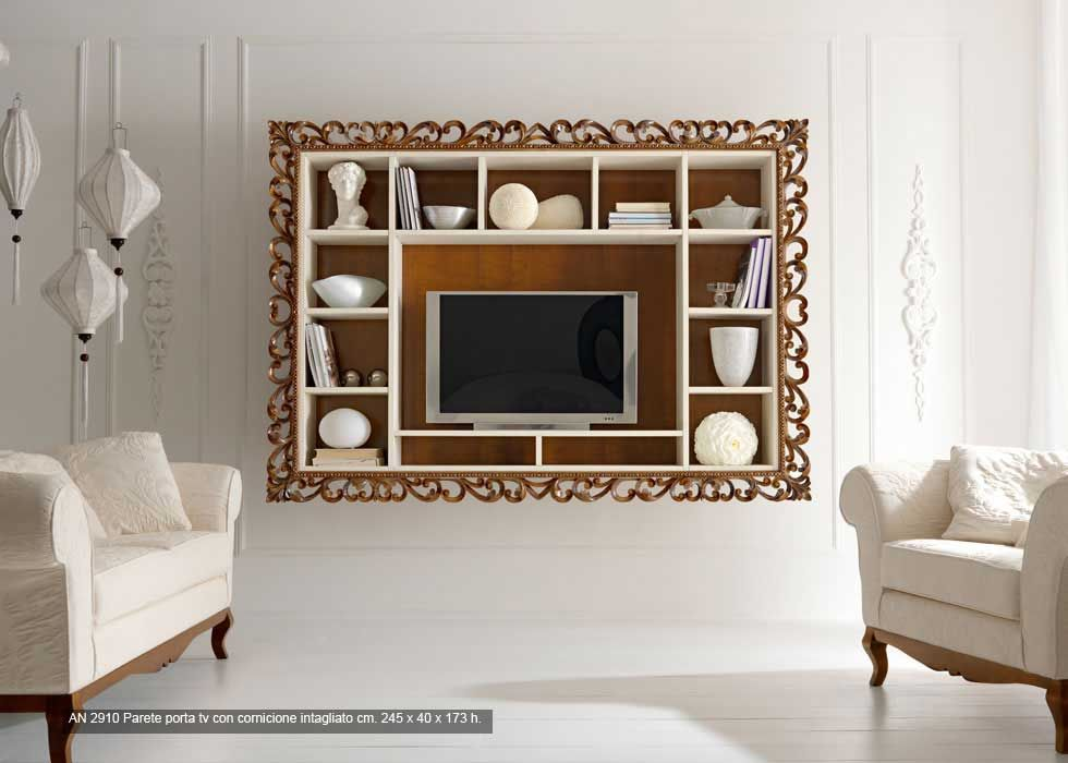 013 parete attrezzata porta tv con cornice intagliata venezia mobili ...