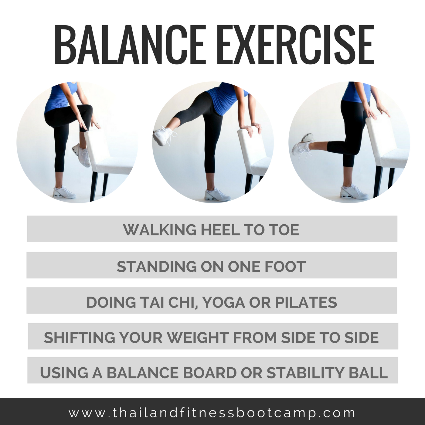 Balance exercises improve your ability to control and stabilize