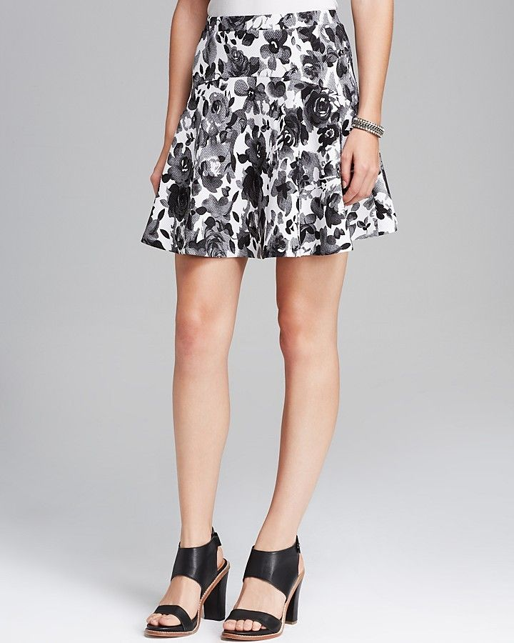 $68, White and Black Floral Skater Skirt: Aqua Skirt Rose Print Skater. Sold by Bloomingdale's. Click for more info: https://lookastic.com/women/shop_items/121151/redirect