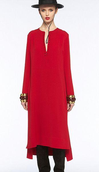 Western  vintage red long-sleeved dress 6111