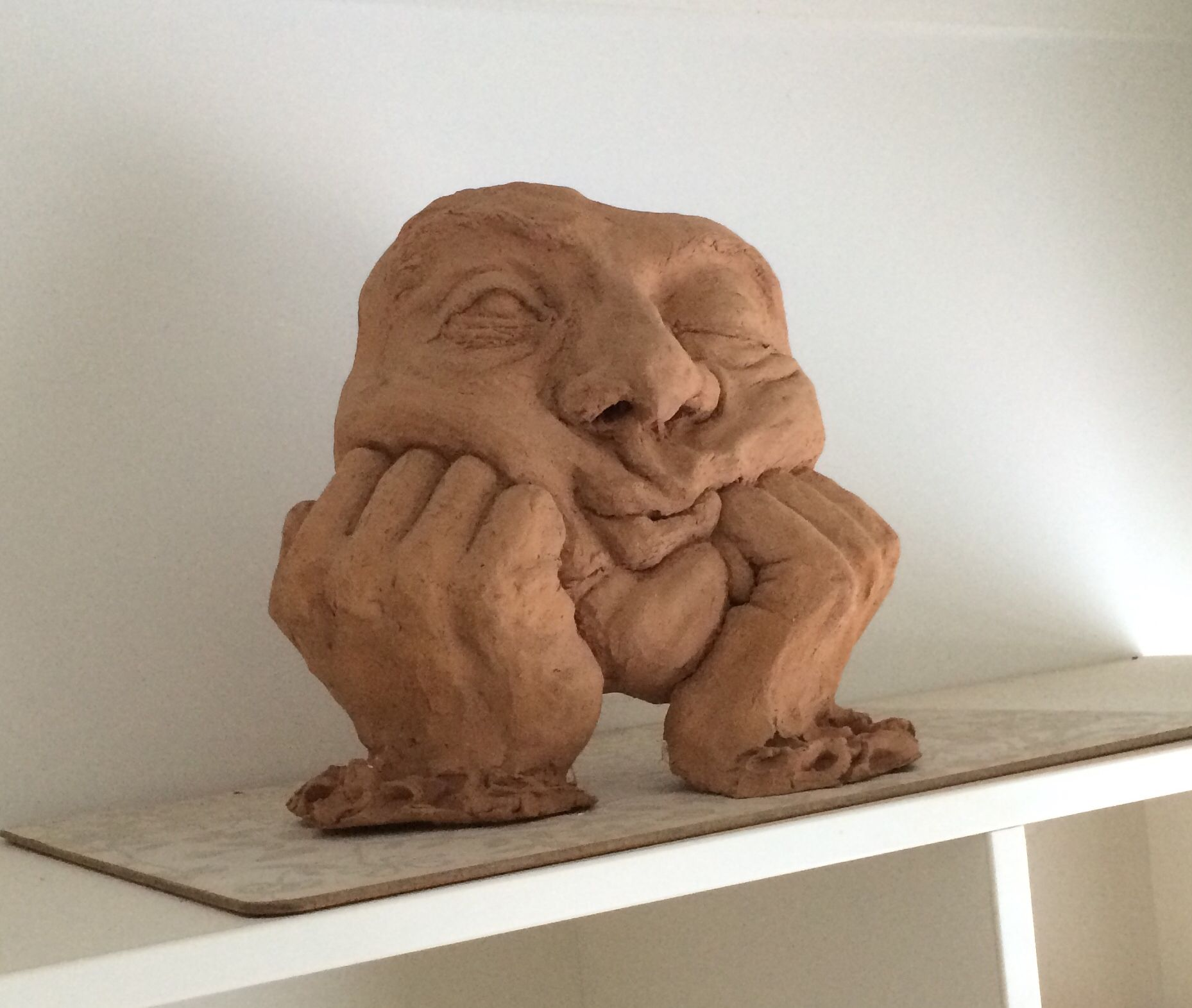 Fired clay sculpture of my Dad. Completed many years ago ...