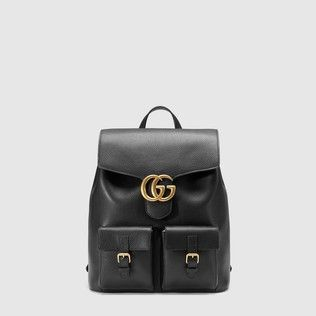 80edb6bb2d588 best AAA high qualtiy replica Gucci mens backpacks gg marmont leather  backpack 429007 black leather