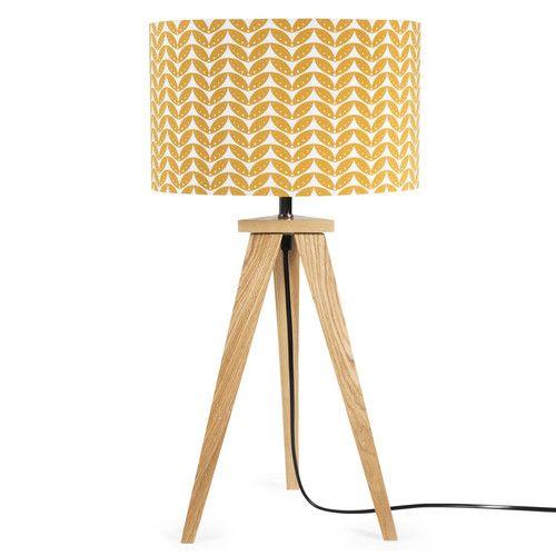 lampe en toile et bois moutarde h 58 cm berlin maisons du monde
