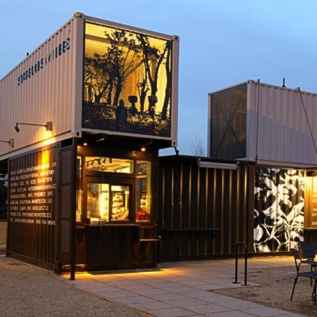 Charming Shipping Container Shops | Starbucks Opens Store Made From Recycled  Shipping Containers