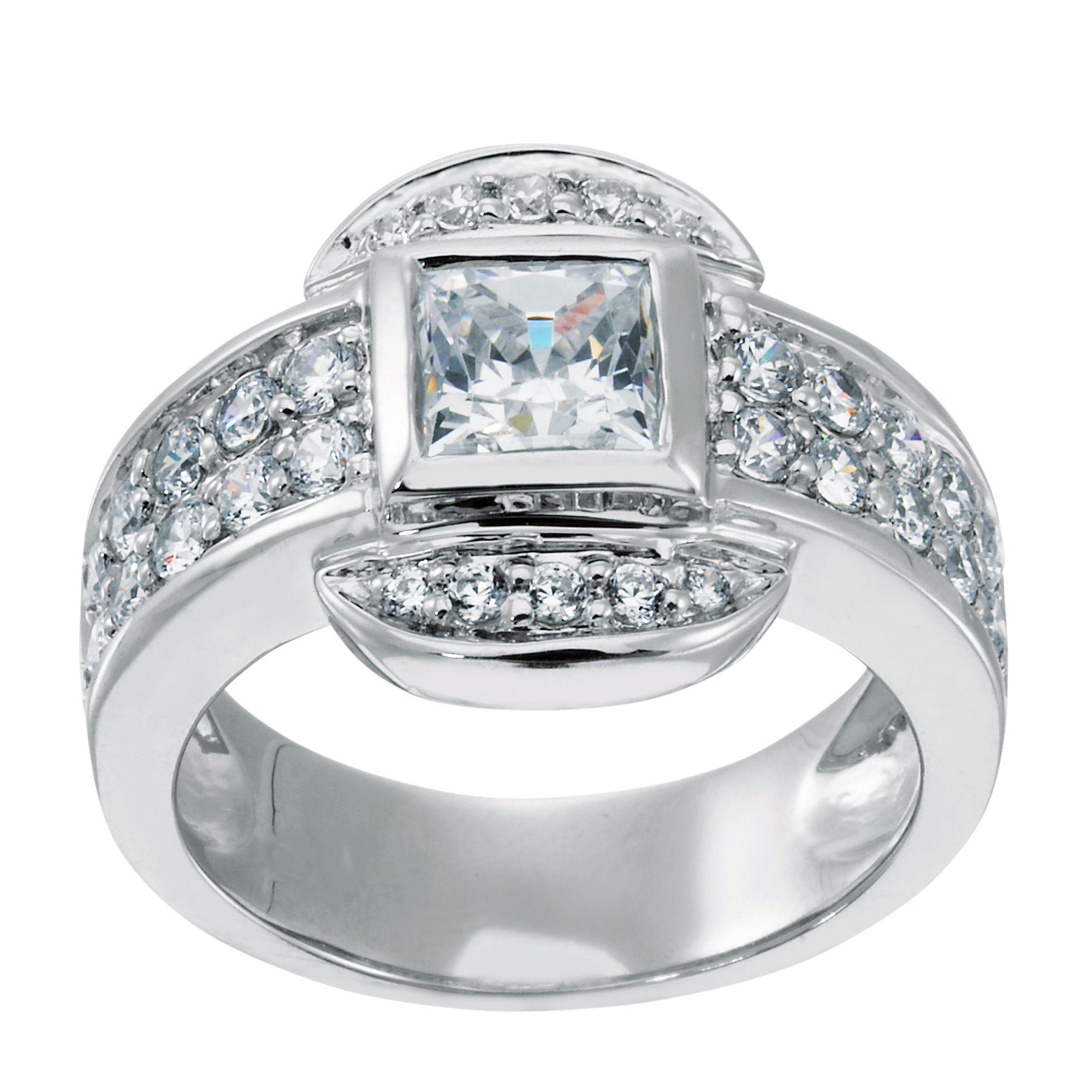Lorian Platinum 0.99 ct Princess Cut Lab Created Engagement Ring $275