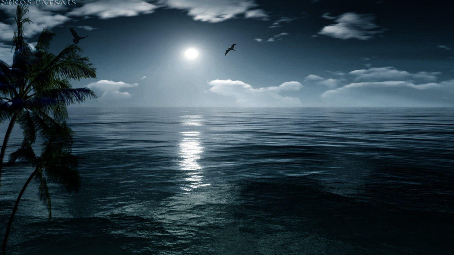 Res 1920x1080 Nature Perfect Night Sea Island Moon Ocean Moonlight Hd Wallpaper Iphone Ocean Wallpaper Sunset Wallpaper Landscape Wallpaper