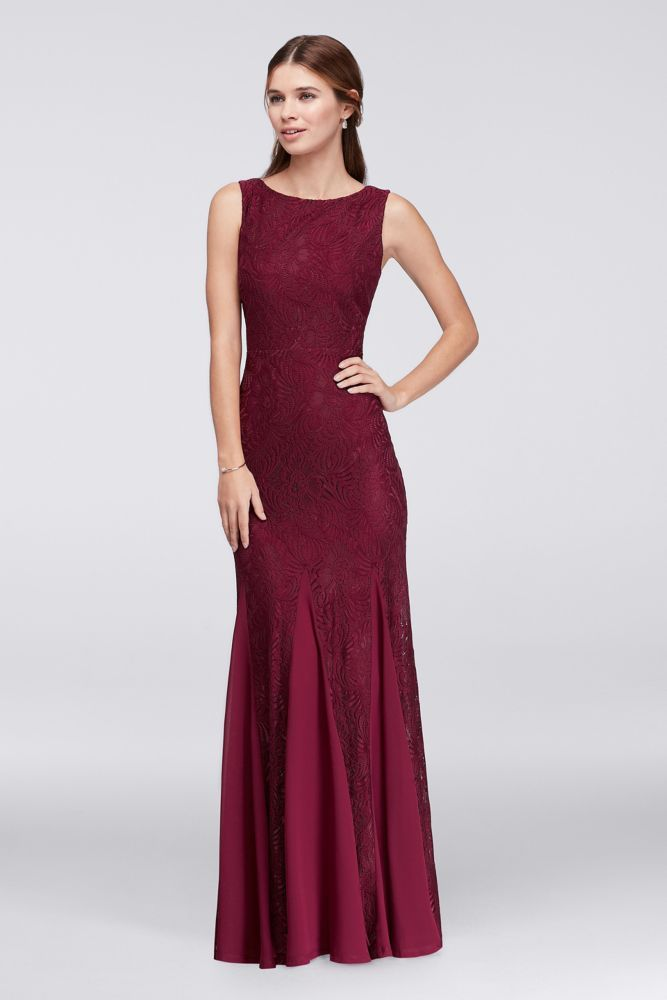 ece10e458f46 Stretch Lace Bridesmaid Dress with Godet Skirt - Merlot (Red), 26 ...
