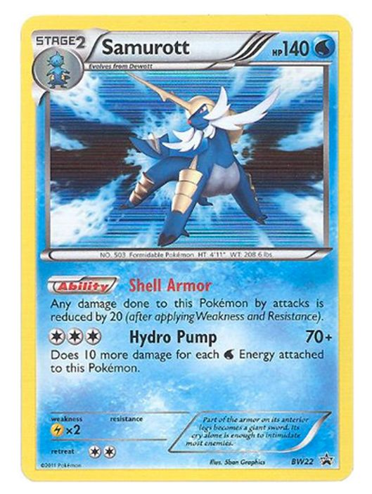 Samurott Stage 2 Pokemon Card BW22 BW Black Stars Promo Holo RARE Excellent cond