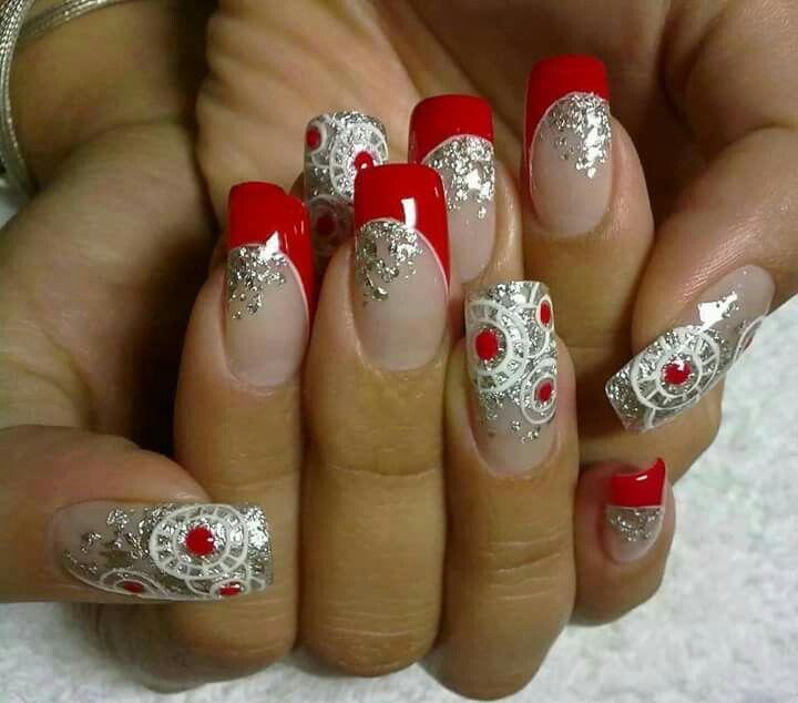 Red n silver nail art   nails   Pinterest   Silver nail art, Silver ...