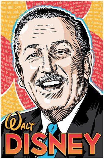 Walt Disney portrait By Jim Zahniser, Red Robot Design & Illustration