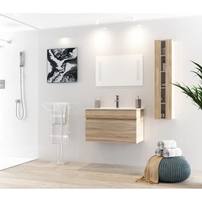 ALBAN Ensemble salle de bain simple vasque L 80 cm avec miroir