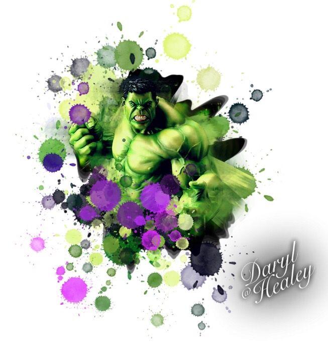 Hulk splash colour watercolour tattoo design I made.   #hulk #marvel #comics #tattoo