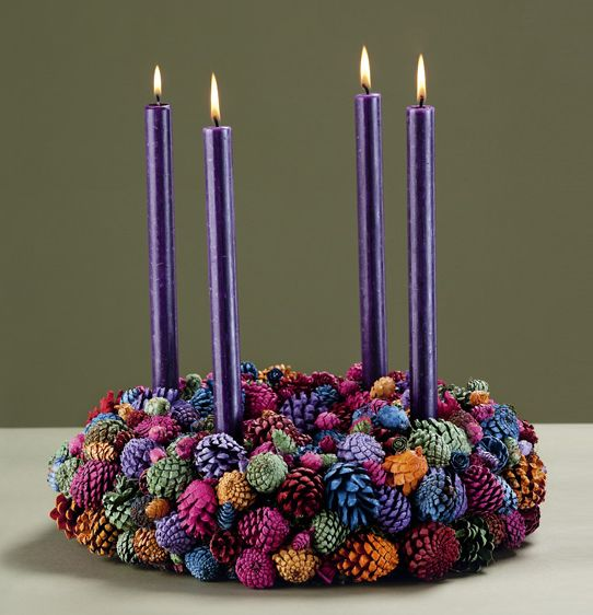 Colored pine cone Advent wreath. Need the brass ring framework? Click here: www.catholiccompany.com/brass-advent-wreath-p6002239/