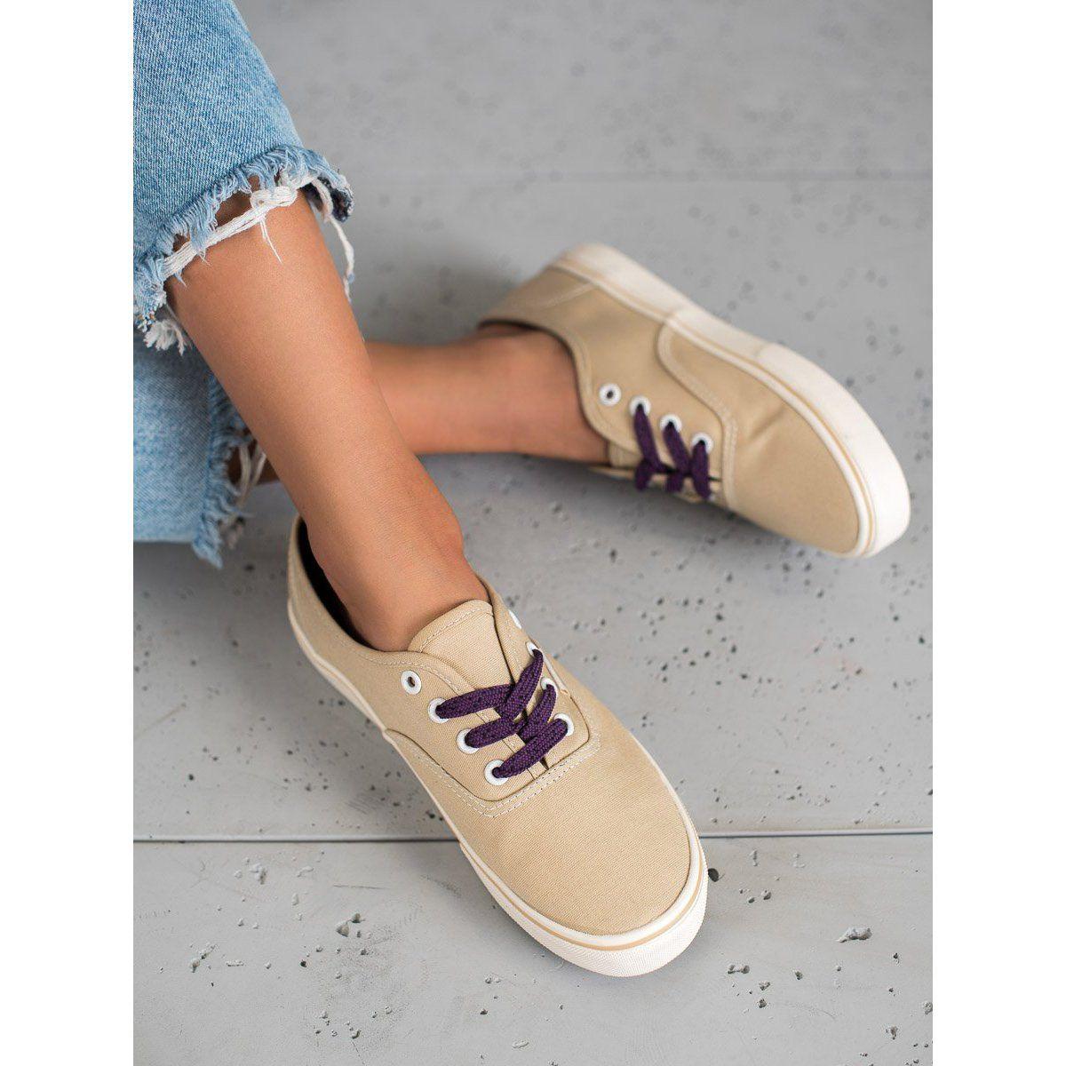 Shelovet Wygodne Tenisowki Brazowe Brown Sneakers Sneakers Womens Sneakers