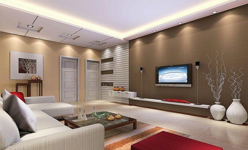 40 moderne Wandfarben Ideen für das Wohnzimmer - moderne wohnzimmer decken