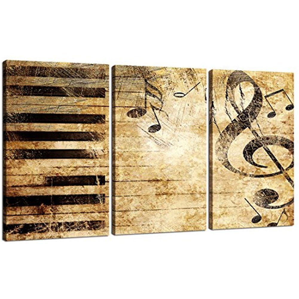 Framed] Vintage Music Note Piano Canvas Art Print Picture Wall Home ...