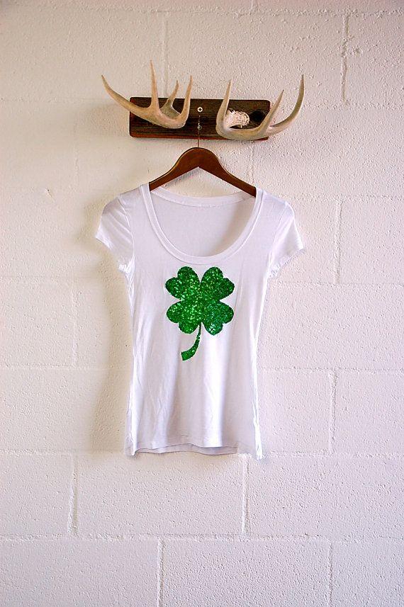 St Patricks Day Lucky Four-Leaf Clover Women Sweatshirt Casual Hoodie Tshirt T Hoodies Cropped Crop Tops