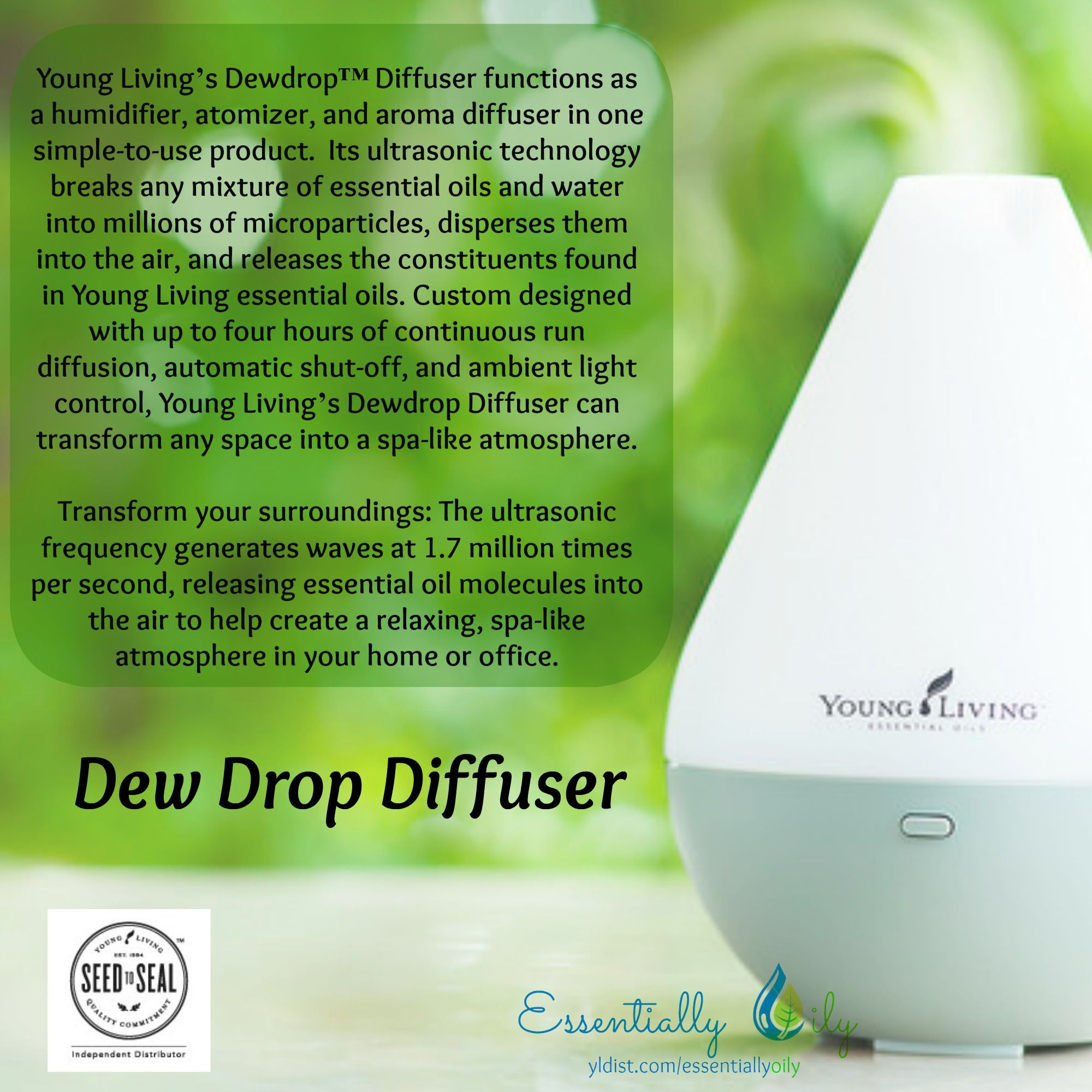 Young Livings Dewdrop Diffuser Functions As A Humidifier Atomizer
