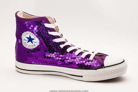 6616b2167c3 Hand Sequined Purple Sequin Converse All Star Hi by princesspumps ...