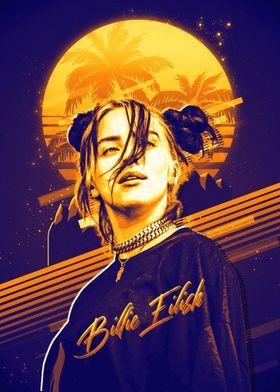 'Billie Eilish Retro' Poster Print by Pakley Studi