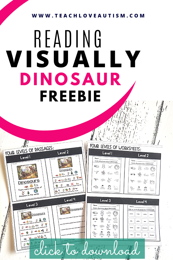 Reading Comprehension Freebie About Dinosaurs Teach Love Autism In 2021 Elementary Special Education Classroom Special Education Reading Special Education Visual [ 1102 x 735 Pixel ]