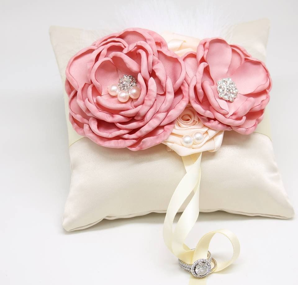 Dusty Pink Ring Pillow Ivory Dog Ring Bearer Collar, Dusty Pink ...