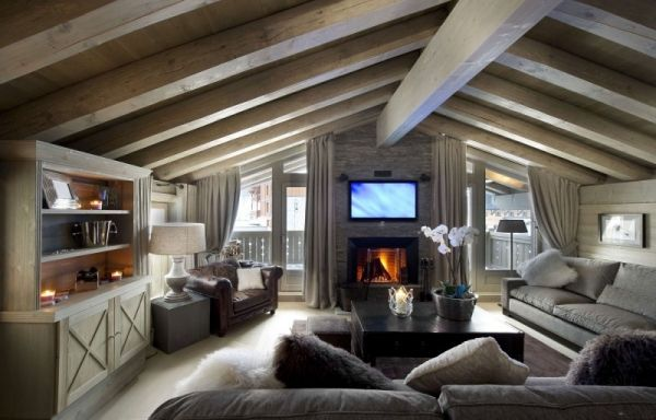 Luxus Berghütte Einrichtung Helles Holz Graue Polstermöbel