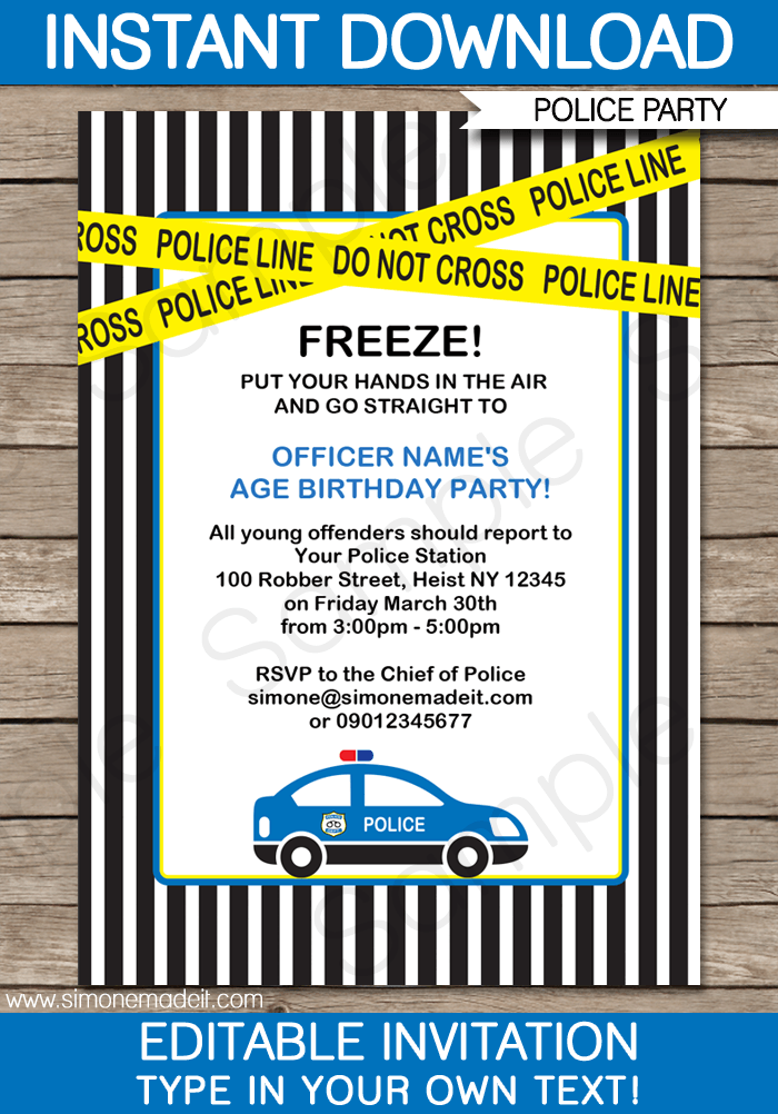 Police Birthday Party Invitations Template Cars Birthday Parties