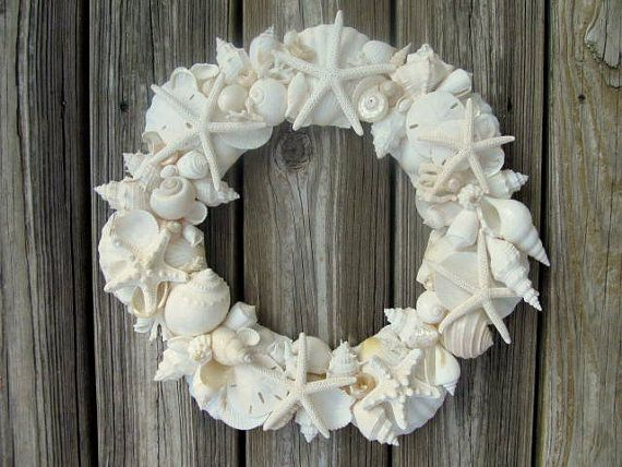 SEASHELL WREATH with white and ivory shells  $115.00
