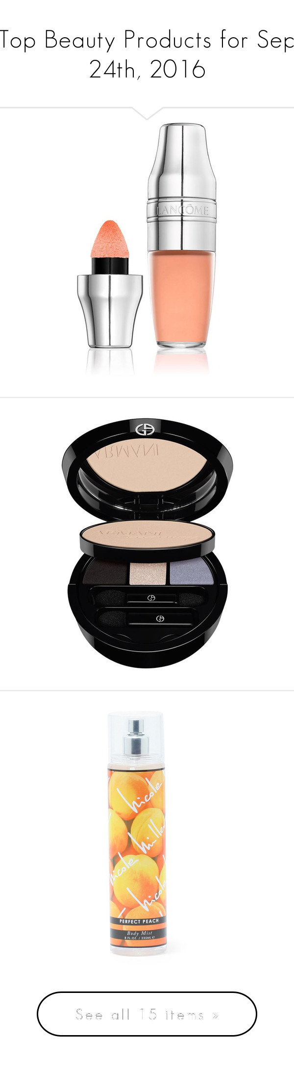 """""""Top Beauty Products for Sep 24th, 2016"""" by polyvore ❤ liked on Polyvore featuring beauty products, makeup, lip makeup, lip gloss, lancome lipgloss, lancôme, lip gloss makeup, lancome lip gloss, face makeup and giorgio armani cosmetics"""