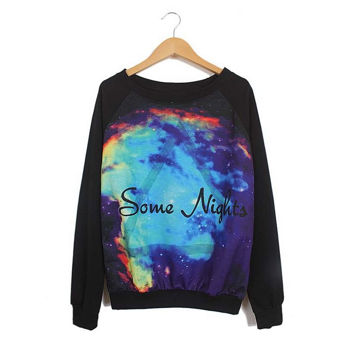 Night Sky Pattern Loose-Fitting Cotton Blend Color Matching ...