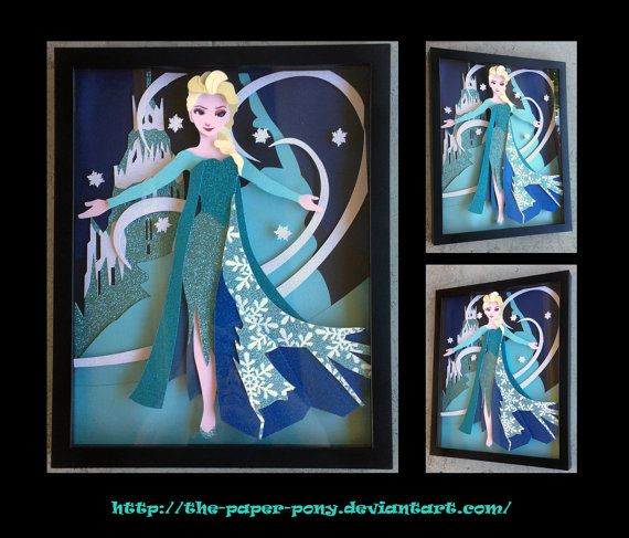 11 x 14 Frozen's Queen Elsa Let It Go by ThePaperPonyPlace on Etsy, $70.00 This paper craft art is even more beautiful in person!