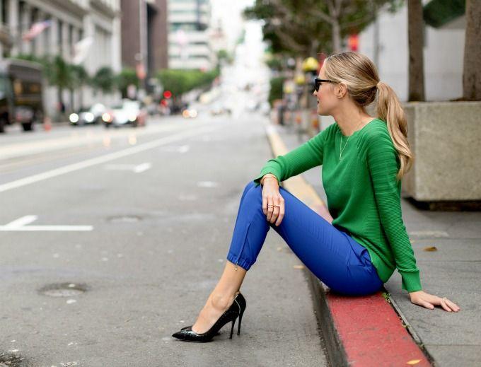 b6c6bef204 True Colors  Kelly Green Sweater   Cobalt Blue Track PantsMEMORANDUM ...